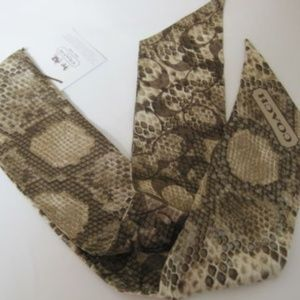 COACH Snake Animal Brown Silk Pony tail Hair Scarf